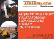 Alquiler de manlift y plataformas elevadoras de tijera y unipersonal